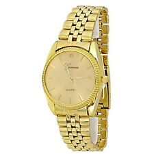 New Gold Watch Geneva Fashion Luxury Gift Mens Metal Band
