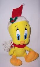 Looney Tunes TWEETY Plush wearing Santa Hat and Red Winter Scarf