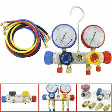 """4 Way AC Manifold Gauge Set R410a R22 R134a w/ 60"""" Hoses+ Coupler Adapters New"""