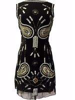 Black Vintage 1920s Flapper Gatsby Downton Abbey Fringe Beaded Dress Size 8-18