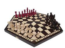 3 THREE PLAYERS WOODEN CHESS SET LARGE - RULES INCLUDED - CHECK IT BARGAIN!