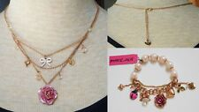 100% Authentic BETSEY JOHNSON Matching Rose Necklace and Rose Charm Bracelet