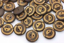 Circle Pattern Brown Wooden Button Fashion Coat Stylish Natural Wood 23mm 20pcs