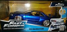 Fast & Furious 7 Nissan Skyline GT-R R34 Die-cast Car 1:24 Jada Toys 7 in Blue