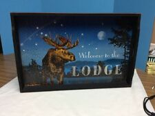 "Folk Art Style Wooden Serving Tray - Moose ""Welcome To The Lodge"""