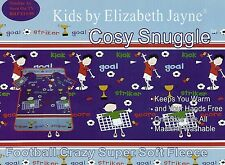 FOOTBALL CRAZY CHILDRENS KIDS CUDDLE COSY SNUGGLE FLEECE BLANKET WITH SLEEVES