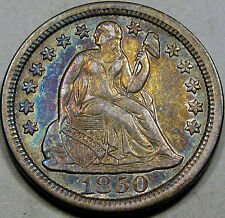1850 Seated Liberty Dime Choice AU++... Flashy with Superb Album Toning, NICE!!!