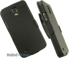 BLACK HARD CASE + BELT CLIP HOLSTER STAND FOR AT&T SAMSUNG GALAXY S4 ACTIVE i537