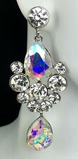 """Gorgeous! 2.75"""" AB Crystal-Rhinestone Earrings, Drag Queen, Prom, Pageant, Bride"""