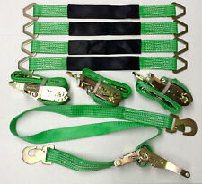4 Axle Straps Car Hauler Trailer Auto Tie Down 4 Ratchet Straps Tow Kit - Green