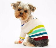NWT Tory Burch Multi Colored Striped Marino Wool Dog Pet Sweater Size Large L