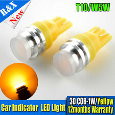 2x T10 158 194 168 W5W COB 1W smd led Car Light Bulb Lamp Amber / Yellow DC 12V