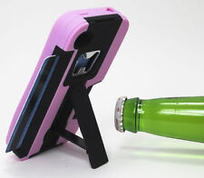 For Apple iPhone 4 KICKSTAND Case Bottle Opener Card Holder Black Light Pink