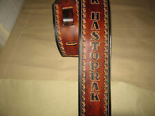 """CUSTOM MADE GENUINE LEATHER GUITAR STRAP BROWN/ BLACK WITH YOUR NAME 3"""" WIDE"""