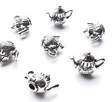 10 x Antique Silver Plated Tea Time Teapot Tea Pot Charms, Alice in Wonderland