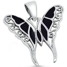 Black Filigree Butterfly .925 Sterling Silver Pendant