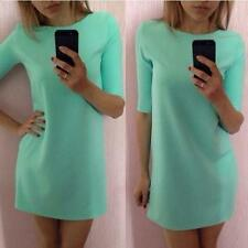 Solid Women Blue Fashion Mint Green Half Sleeve Loose vintage Dress Clothes L N