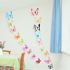 18 COLOURFUL 3D KIT BUTTERFLIES WALL ART STICKERS DECALS HOME DECORATION DECOR
