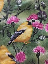 OOP State Bird Fabric by Northcott Yellow Goldfinch Pink Thistle Flower Green