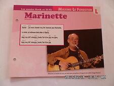 CARTE FICHE PLAISIR DE CHANTER MAXIME LE FORESTIER MARINETTE