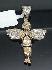 10K Yellow Gold Mini Angel Charm With 0.30CT Diamond #A3B7