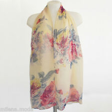 Foulard femme imprimé fleuri jaune beige chic étole fleurs fashion tendance mode