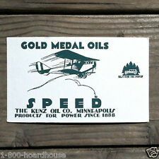 Vintage Original GOLD MEDAL OILS Advertising Blotter 1910s NOS Airplane Unused