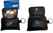 Lot of 2 Women/men's mini leather Change Purse key ring Coin bag Mini Wallet BN