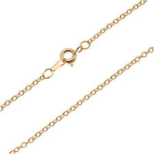 22K Gold Plated Fine Cable Chain Necklace - 2x1.8mm Links 18 Inches Long