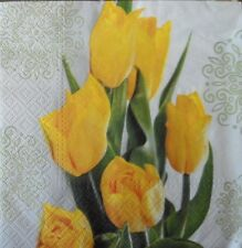 4 X SINGLE PAPER NAPKINS PARTY  YELLOW  TULIPS DECOUPAGE  CRAFTING-29