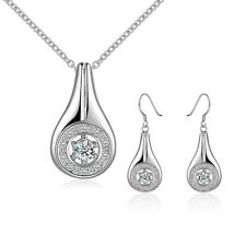Elegant 925 Stamped Sterling Silver Filled Oval CZ Necklace/Earrings Set S421