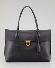 100% AUTH USED SALVATORE FERRAGAMO SOOKIE BLACK LEATHER SATCHEL TOTE BAG/HANDBAG