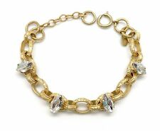 CATHERINE POPESCO Victorian Shade Marquise Swarovski Chain Link Gold Bracelet