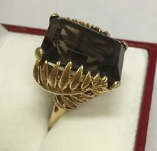 Fabulous Large Retro 22.5ct Smokey Quartz 14K Yellow Gold Ring Size 8