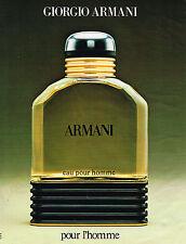 PUBLICITE ADVERTISING 054  1985   ARMANI parfum pour homme     080514