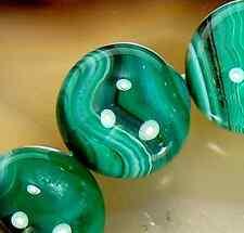 14mm Green Banded Stripede Agate Gemstone Bracelet 14Beads