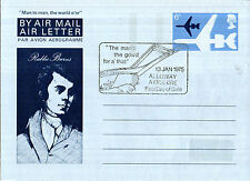 13 GENNAIO 1975 Robert Burns AIR MAIL LETTERA PRIMO GIORNO EMISSIONE Alloway Ayrshire SH