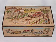 11C39 ANCIEN COFFRET BOITE A GANTS COUTURE MERCERIE BIJOUX DECORS VOITURES 1920