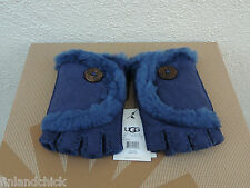 UGG PEACOAT MINI BAILEY BUTTON FINGERLESS SUEDE SHEARLING GLOVES ~MEDIUM ~ NWT