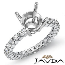 Diamond Engagement Eternity Style Ring Round Semi Mount 18k White Gold 0.80Ct