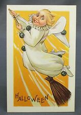 Antique Halloween Postcard Girl White Clown Costume Flying in Broomstick