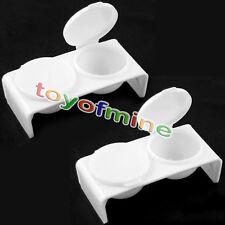 2 x Nail Art Acrílico Caso líquido Holder Dish - Blanco