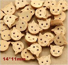 100pc Little Cat Fashion Wood Buttons Children Garment Accessories Craft