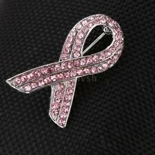 PINK CRYSTAL RIBBON PIN BROOCH  BREAST CANCER AWARENESS + VELVET POUCH