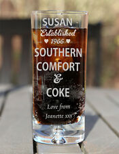 Engraved Boxed Southern Comfort & Coke Glass Birthday Xmas Gift Est. Heart