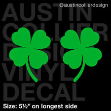 "5.5"" FOUR LEAF CLOVER PAIR vinyl decal car window laptop sticker - 4 lucky charm"
