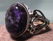 Sterling silver purple cabochon charoite stone ring UK O-O¼/US 7.25-7.5