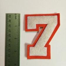 Vintage Chenille Letterman Jacket Felt Patch 7 Number 7 White Orange