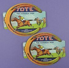"""Pair of c1930's Pictorial """"Tote"""" Tonic Labels - Horse Racing Interest"""