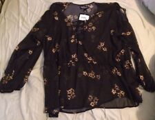 Womens PLUS SIZE BLOUSE Peasant Top 3X Sheer Black & Floral